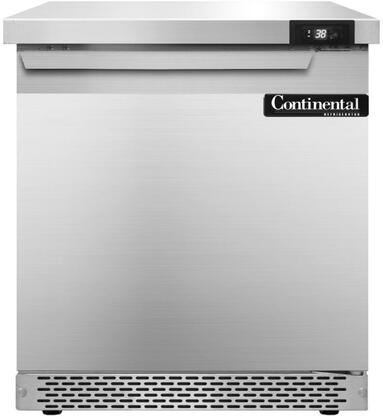 """Continental Refrigerator SW27F 27"""" Worktop Refrigerator with Front Breathing Compressor, Stainless Steel Front, Aluminum Interior, Interior Hanging Thermometer, and Environmentally-Safe Refrigerant, in Stainless Steel"""