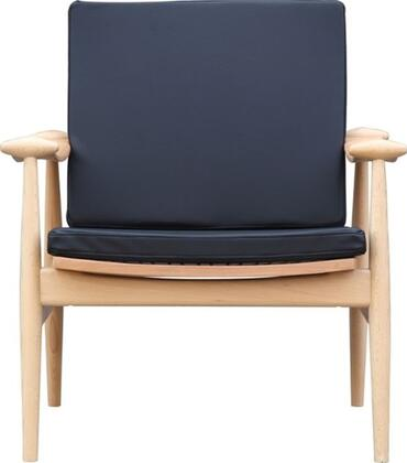 Fine Mod Imports FMI10109BLACK Vogel Series Leather Lounge with Wood Frame in Black