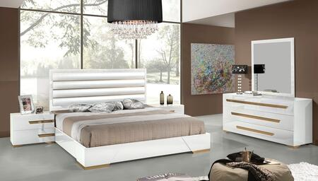 VIG Furniture VGACJULIETWHTSET Nova Domus Juliet Italian Bedroom Set with Bed, 2 Nightstands, Dresser, Mirror and White Leatherette Upholstery in Lacquer White Finish