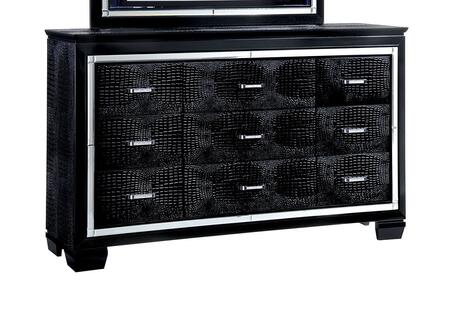 Furniture of America Bellanova CM7979DX Dresser with Contemporary Style, Crocodile-Textured Detail, Felt-lined Top Drawers, Diamond Crusted Bar Pull Handles
