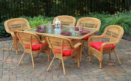 Tortuga Portside PSD-66-AM 7-Piece Dining Set with Dining Table, 6 Chairs, Wicker Construction and Tempered Glass Top in Amber with X Cushions