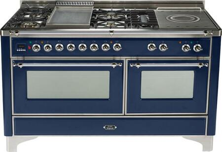 Ilve UMT150FSMPBL Majestic Techno Series Dual Fuel Freestanding Range with Sealed Burner Cooktop, 3.55 cu. ft. Primary Oven Capacity, Warming in Midnight Blue