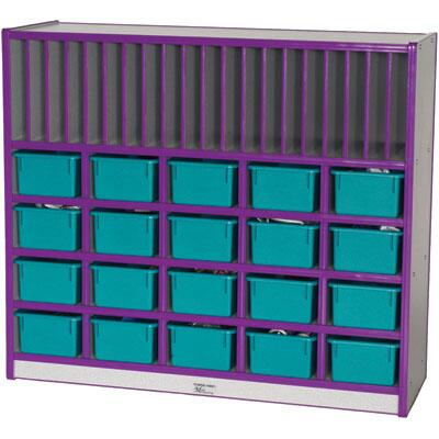 Mahar M60452 20 Opening Cubbie Unit With Vertical Letter Slots with Trays in Maple Finish with Edge Color
