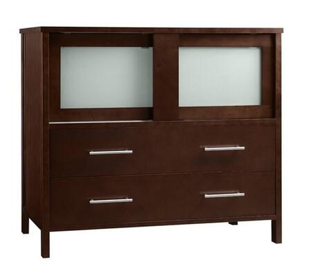 """Ronbow 03583-6- Minerva 36"""" Wood Vanity Cabinet with Two Frosted Glass Sliding Doors and Two Bottom Drawers:"""
