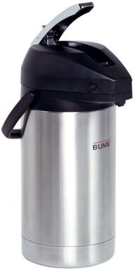 Bunn-O-Matic 32130.0x00 3L Lever Action Airpot Portable Server With Black Cover Lid, Lever Action, Stainless Steel Airpot Liner, in Stainless Steel