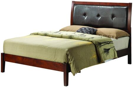 Glory Furniture G1200A Bed with Padded HeadBoard,  Wood frame and Tapered Legs in Cherry