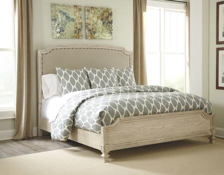 Signature Design by Ashley B693PANELBED Demarlos Collection x Size Upholstered Panel Bed with Arched Top, Nail Head Trim Headboard in Parchment White
