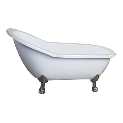 """Barclay ASN67LPAWH Lancaster 67"""" Acrylic Slipper Bathtub with No Faucet Holes, 48 Gallon Capacity, and Lion Feet Finished in:"""