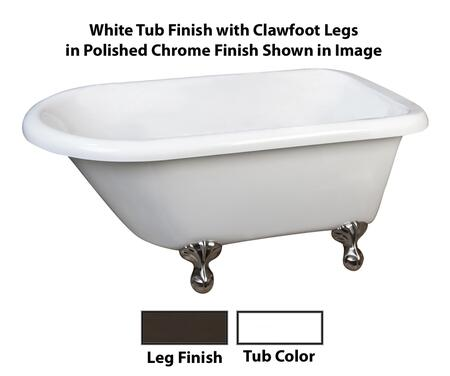 White Tub Finish with Clawfoot Legs in Polished Chrome Finish