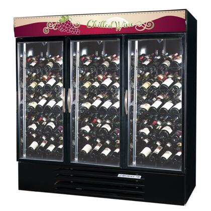 """Beverage-Air MMRR72-1 MarketMax 75"""" Three Section Dual Temperature Glass Door Reach-In Wine Merchandiser with LED Lighting, 72 cu.ft. Capacity, [Color] Exterior and Bottom Mounted Compressor"""