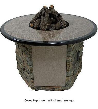 Camp Fyre OCTBS-52A-Gx-01P Granite Table with Stack Stone Base and Fire Glass - Liquid Propane in Russet with Ebony Trim Top