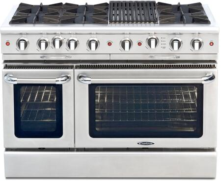 "Capital CGSR484B2L 48"" Culinarian Series Gas Freestanding Range with Open Burner Cooktop, 4.6 cu. ft. Primary Oven Capacity, in Stainless Steel"