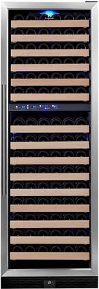 "KingsBottle KBU- 24"" 2 Temperature Zones Wine Cooler with x Bottle Capacity, Warp Resistant Wood Shelves, Blue LED Lighting and Door Lock: Glass Door with Stainless Steel Trim"