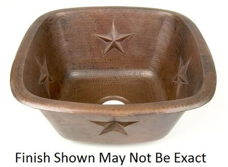 D'Vontz BP2008L20 Square Texas Star Embossed Copper Bar Sink With 77% Recycled Copper, 99% Pure Copper & In