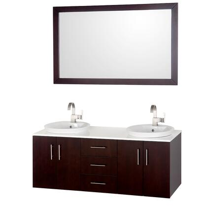"""Wyndham Collection Arrano WCSB40055ES 55"""" Double Wall Mounted Vanity Set with Glass Top, X Sink, 3 Soft-Close Drawers, 4 Doors, Concealed Door Hinges, and Matching Mirror in Espresso Finish"""