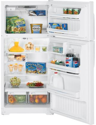 GE GTS17JBWWW Freestanding Top Freezer Refrigerator with 16.6 cu. ft. Total Capacity 3 Glass Shelves 4.1 cu. ft. Freezer Capacity