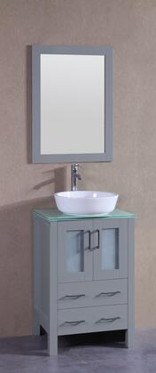 """Bosconi AGR124BWLCWGX XX"""" Single Vanity with Clear Tempered Glass Top, Oval White Ceramic Vessel Sink, F-S02 Faucet, Mirror, 2 Doors and X Drawers in Grey"""