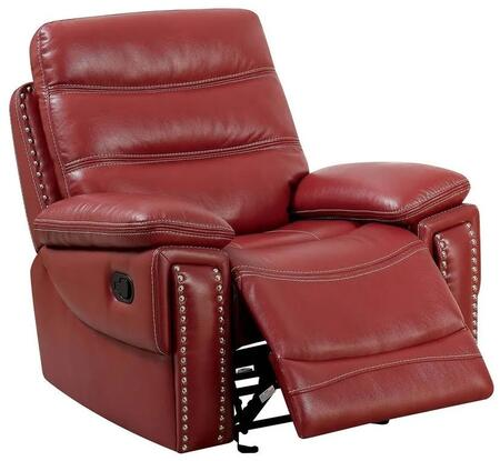 """Furniture of America Cavan Collection CM6560XX-CH 41"""" Recliner with Leatherette Upholstery, Nailhead Trims, Contoured Seat and Solid Wood Frame in"""