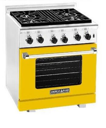 American Range ARR304LYW Heritage Classic Series Liquid Propane Freestanding Range with Sealed Burner Cooktop, 4.8 cu. ft. Primary Oven Capacity, in Yellow
