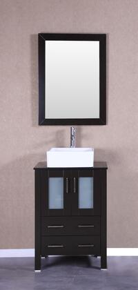Bosconi Bosconi Vanity Set with Tempered Glass Top, White Square Ceramic Vessel Sink and Vertically Mounted Vanity Mirror in Espresso
