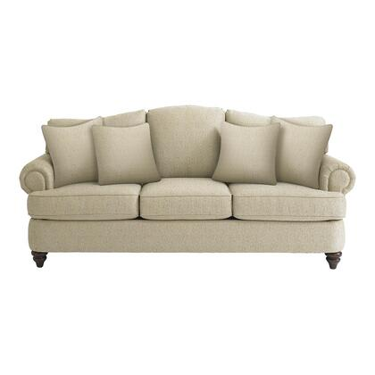 "Bassett Furniture Barclay Collection 3999-62FC/FC120-x 88"" Sofa with Fabric Upholstery, Rolled Arms, Turned Bun Feet, Piped Stitching and Traditional Style in"