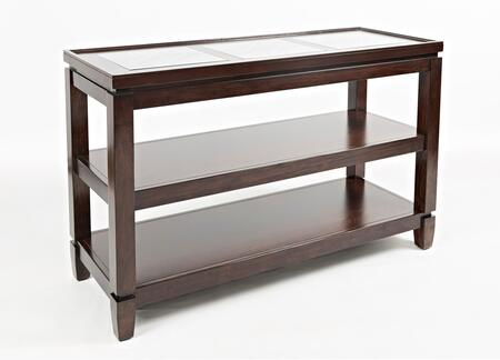 Jofran Casa Bella Collection 15XX-4  50  Sofa Table with 6mm Glass Insert, Intricate Inlay, 3mm Mirror, in Vintage Silver