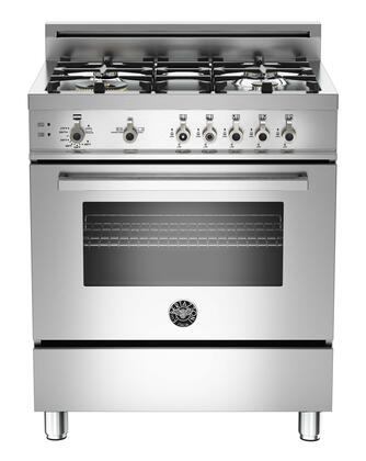 """Bertazzoni PRO304GASXLP 30"""" Professional Series Gas Freestanding Range with Sealed Burner Cooktop, 3.6 cu. ft. Primary Oven Capacity, Storage in Stainless Steel"""