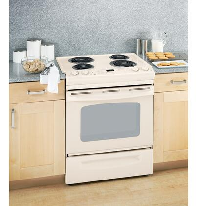 "GE JSP39DNCC 30"" Slide-in Electric Range with Coil Cooktop Storage 4.4 cu. ft. Primary Oven Capacity"