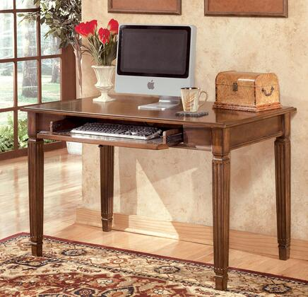 Signature Design by Ashley Hamlyn H527DSK Home Office X Leg Desk with Drop Down Front Revealing a Keyboard Tray, Mouldings Along Tapered Legs and Made with Select Hardwoods and Cherry Veneer in Medium Brown Finish