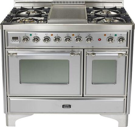 Ilve UMD100SMPIX  Dual Fuel Freestanding Range with 5 Sealed Burner Cooktop Warming 2.44 cu. ft. Primary Oven Capacity  Appliances Connection