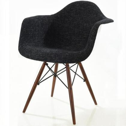 EdgeMod EM194WALBLK Vortex Series Armchair Fabric Wood and Metal Frame Accent Chair