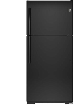 GE GIE18ETH 18.2 cu. ft. Top Freezer Refrigerator with Upfront Dual Temperature Controls, Adjustable Glass and Wire Shelves, Factory-Installed Ice Maker, Snack Drawer and Clear Drawers in