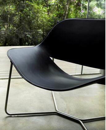 Modloft PTN193PPL5 Oakley Series Leather Lounge with Metal Frame in Black