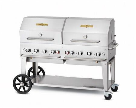 """Crown Verity CVMCB60RDPNG 60"""" Natural Gas Mobile Grill up to 129,000 BTUs with Adjustable Bun Rack and Roll DOme Package in Stainless Steel Two 14"""" Wheels and Two Lock Casters for Mobility"""