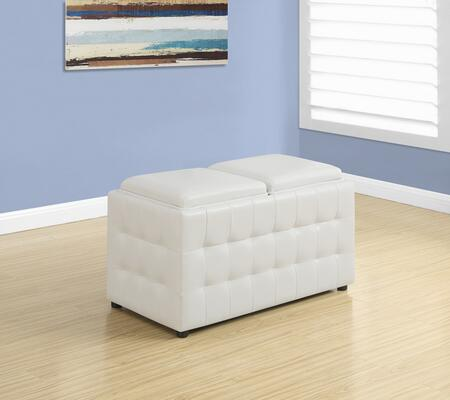 """Monarch I 892X 32"""" Ottoman with Two Flip Top Lids, Large Interior Storage and Leather"""