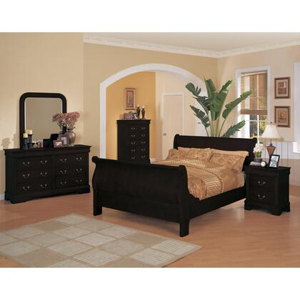 Yuan Tai 6702Q(CH)SET-BK Louis Philippe Queen Bedroom Sets