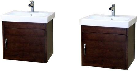 Bellaterra Home 203136X Wall Mount Style Sink Vanity - Wood - Walnut