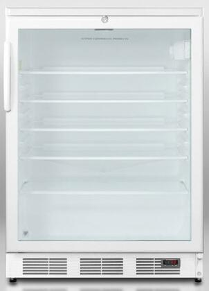 """Summit SCR600LPUBxx 24"""" Commercially Approved Compact Pub Cellar with 5.5 cu. ft. Capacity, 4 Adjustable Glass Shelves, Automatic Defrost, and Lock, in White"""