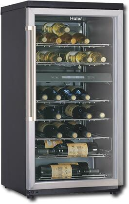 "Haier HVZ040ABH 22-1/4"" Free Standing Wine Cooler, in Black on Stainless"