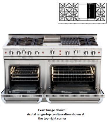 """Capital COB604GB2L 60"""" Connoisseurian Series Gas Freestanding Range with Open Burner Cooktop, 4.6 cu. ft. Primary Oven Capacity, in Stainless Steel"""