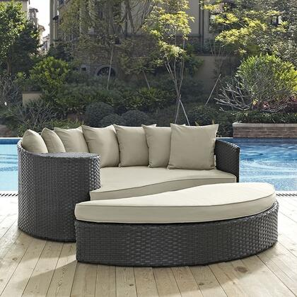 "Modway Sojourn Collection EEI-1982-CHC- 71"" Outdoor Patio Sunbrella Daybed with 7 Toss Pillows, Large Ottoman, Synthetic Rattan Weave, Powder Coated Aluminum Frame, UV and Water Resistant in"