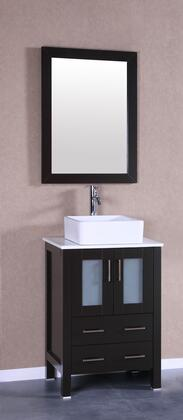 Bosconi Bosconi AB124CBEPSX Vanity Set with Pheonix Stone Top, White Square Ceramic Vessel Sink , Faucet and Vertically Mounted Vanity Mirror in Espresso