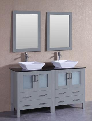 """Bosconi AGR230SQBGX XX"""" Double Vanity with Black Tempered Glass Top, Flared Square White Ceramic Vessel Sink, F-S02 Faucet, Mirror, 4 Doors and X Drawers in Grey"""
