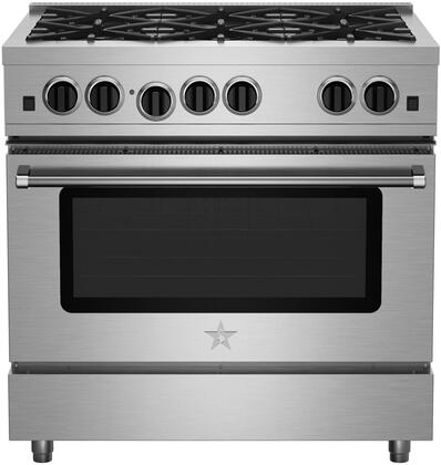 "BlueStar RCS366BV2X 36"" Freestanding Range with 6 Open Burners, Electronic Ignition, Interior Oven Light, Infrared Broiler, Large Capacity Convection Oven and Simmer Burner, in Stainless Steel"