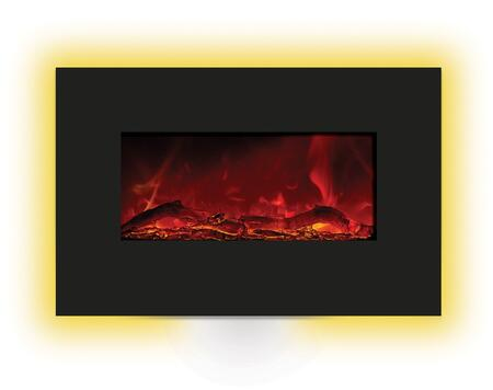Amantii WMBI Electric Fireplace with 4 Stage Internal Back Lighting, LED Ember Lights, Hard Wire Ready and Temperature Maintenance Control in Black Glass Surround