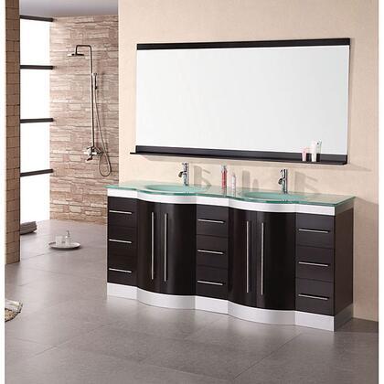 """Design Element DEC023 Jasper 72"""" Double Sink Vanity Set w/"""