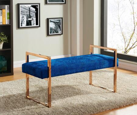 "Meridian Harper Collection 112XCROC 43"" Bench with Crocodile Velvet Upholstery, Stainless Steel and Contemporary Style in"