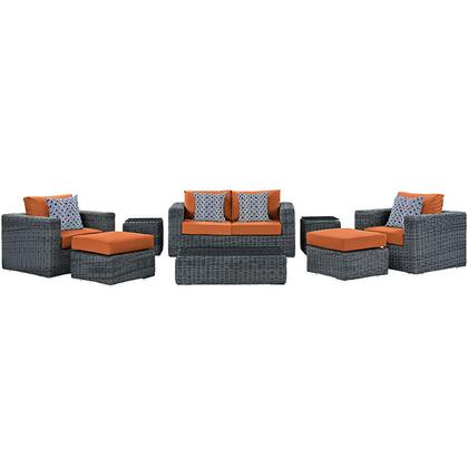 Modway Summon Collection EEI-2389-GRY- 8-Piece Outdoor Patio Sunbrella Sectional Set with Coffee Table, Loveseat, 2 Armchairs, 2 Ottomans and 2 Side Tables in