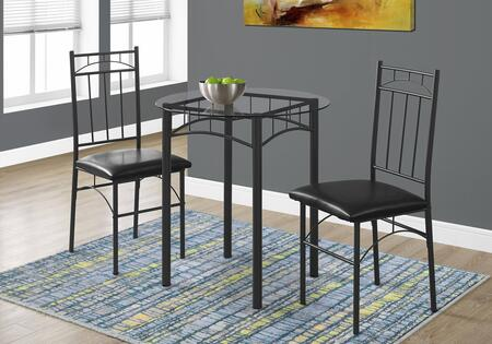 Monarch 3-Piece Dining Set with Glass Top Table and 2 Side Chairs in
