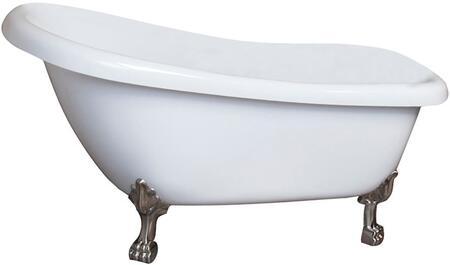 "Barclay ASN67LPEWH Hailey 67"" Acrylic Slipper Bathtub with No Faucet Holes, 51 Gallon Capacity, and Lion Feet in:"